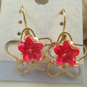 Gold Plated Pink Star Czech Crystal Earrings